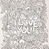 Love hand lettering and doodles elements background — Stock Vector