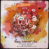 Vector love doodles watercolor poster design — Stock Vector