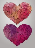 Hand drawn curled vector heart set — Stock Vector