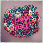 I Love You hand lettering and doodles elements — Stock Vector