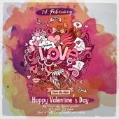 Vector love doodles watercolor poster design — Vettoriale Stock
