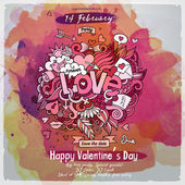 Vector love doodles watercolor poster design — Διανυσματικό Αρχείο