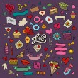 Set of love doodle icons vector — Stock Vector #63485371