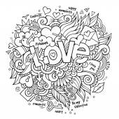 Love hand lettering and doodles elements — Stock Vector