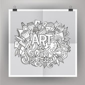 Art hand lettering and doodles elements — Stock Vector