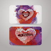 Vector love doodles watercolor card design — Stock Vector
