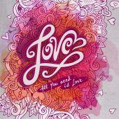 Vector love doodles watercolor paint card design — Stock Vector