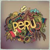 Peru hand lettering and doodles elements background. — Cтоковый вектор