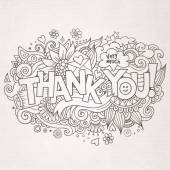 Thank You hand lettering and doodles elements background — Stock Vector