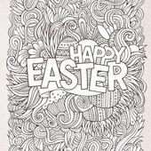 Paskalya el yazı ve karalamalar öğeleri — Stok Vektör