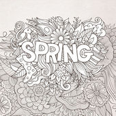 Spring hand lettering and doodles elements — ストックベクタ