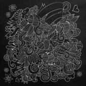 Doodles abstract decorative Easter chalkboard background — ストックベクタ