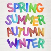Seasons vector watercolor lettering. — Stock Vector