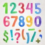 Watercolor handwritten numbers and symbols — Stock Vector #70064489