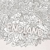 England hand lettering and doodles elements background — Stock Vector