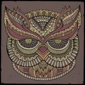 Decorative ornamental Owl head — Stock Vector