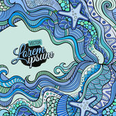 Decorative marine sealife ethnic background — Stock Vector