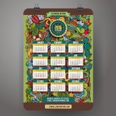 Doodles summer Calendar 2016 year design — Stock Vector