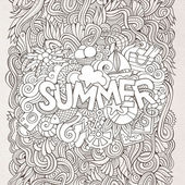 Summer hand lettering and doodles elements. — Stock Vector