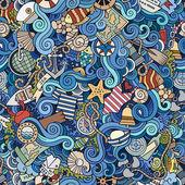 Seamless pattern sealife and marine — Stock Vector
