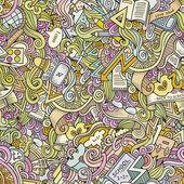 Cartoon vector doodles school seamless pattern — Stock Vector