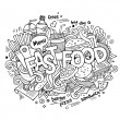 Fast food hand lettering and doodles elements background — Stock Vector #75756001