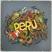 Peru hand lettering and doodles elements background. — Stock Vector