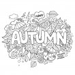 Autumn hand lettering and doodles elements background — Stock Vector #76138307