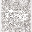 Fast food hand lettering and doodles elements background — Stock Vector #76138589