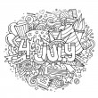 4th July Independence Day hand lettering and doodles elements — Stock Vector #76668479