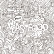 Fast food hand lettering and doodles elements background — Stock Vector #76668707