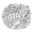 Italy hand lettering and doodles elements background — Stock Vector #76668771