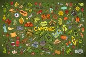 Camping nature symbols and objects — Stock Vector