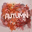 Autumn season hand lettering and doodles elements — Stock Vector #77381130