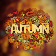 Autumn season hand lettering and doodles elements — Stock Vector #77382336