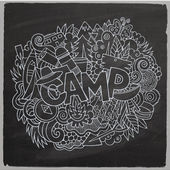 Summer camp hand lettering and doodles elements background — Stock Vector
