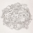 Fast food hand lettering and doodles elements — Stock Vector #77413946