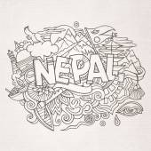 Nepal country hand lettering and doodles elements — Stock Vector