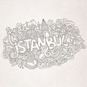 Istanbul city hand lettering and doodles elements — Stock Vector