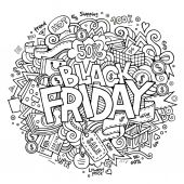 Black Friday sale hand lettering and doodles elements — Stock Vector