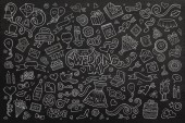 Chalkboard vector hand drawn Doodle cartoon set of objects — Stock Vector