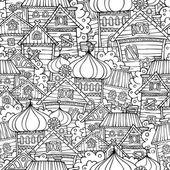 Cartoon fairy tale drawing russian village seamless pattern — Stock Vector