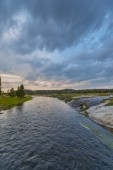 Firehole River after Sunset Yellowstone — Stock Photo
