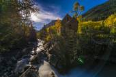 Moon rise over the Crystal Mill Colorado Landscape — Stock Photo