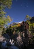 Crystal Mill Bright Starry Night Gunnison Colorado — Stock Photo