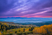 Colorful Dramatic Sunset Sky over the City of Moab Fall Colors — Stock Photo