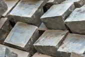 Granite paving sets stacked ready for use — Foto de Stock