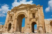 The Arch of Hadrian at Jersah in Jordan showing the front view — Stock Photo