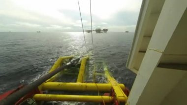 Time Lapse of Laying Down Pipeline at Offshore — Stock Video