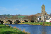 Peebles town bridge over river Tweed — Stock Photo